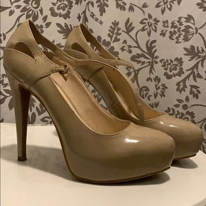 Nine West Nude Closed Toe Platform w/ Ankle Strap